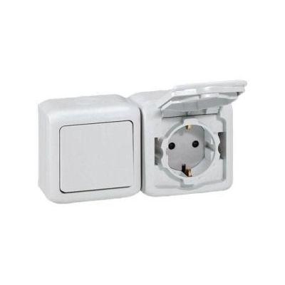 Forix IP44 fk 2x2P+F földelt csatlakozóaljzat, 16A, csapófedéllel, biztonsági zsaluval, fehér