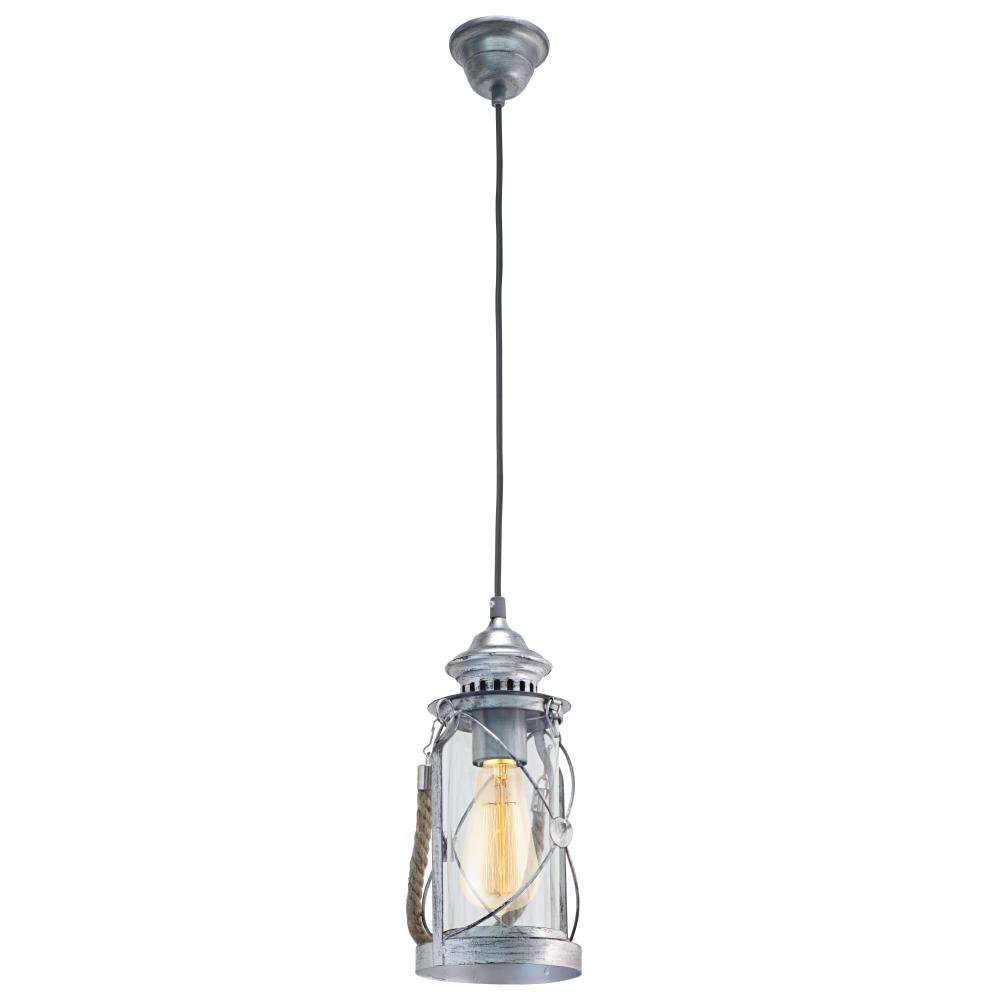 Függeszték E27 60W ezüst-antik/üveg