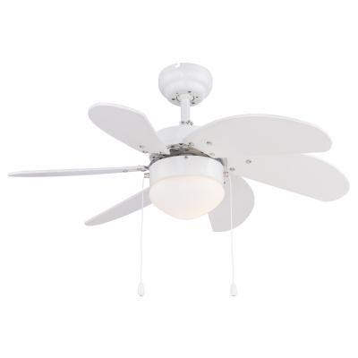 Mennyezeti ventilátor fém fehér, opál üveg búra, MDF fehér lapátok, 2 forgásirány, húzókapcsoló exkl. 1xE14 60W 230V
