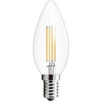 LED üveg átlátszó, E14 Kerze Filament, 2-er Blister, D:35, H:100, tartalmazza: 2xE14 LED 4W 230V, 400lm, 2700K