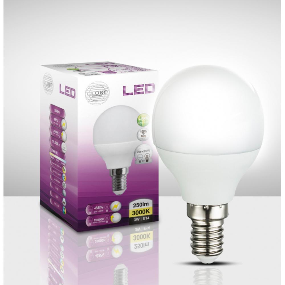 Fényforrás LED,  D:45, H:82, inkl. 1xE14 LED 3W 230V, 250lm, 3000K