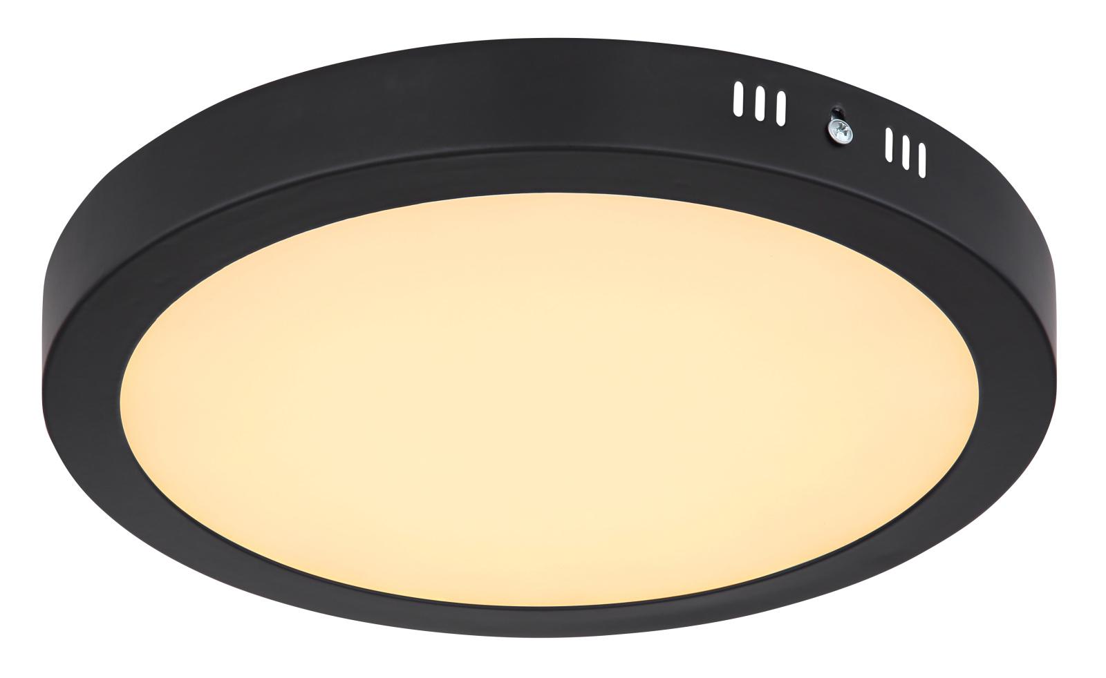 Mennyezeti lámpa fém fekete váz, akril opál búra inkl. 1xLED 22W 230V, 2000lm, 3000K