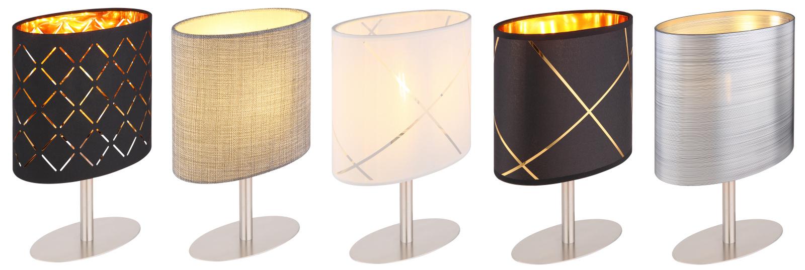 Asztali láma display exkl. 1xE14 25W 230V matt króm talp, különböző színű textil ernyőkkel