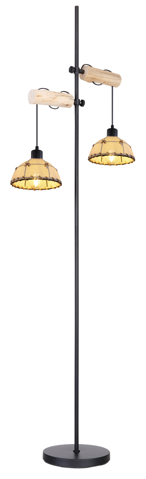 Állólámpa fém mennyezetrózsával, textil kábellel, textil búrával, kenderkötél öltésekkel dekorálva exkl. 2xE27 60W 230V