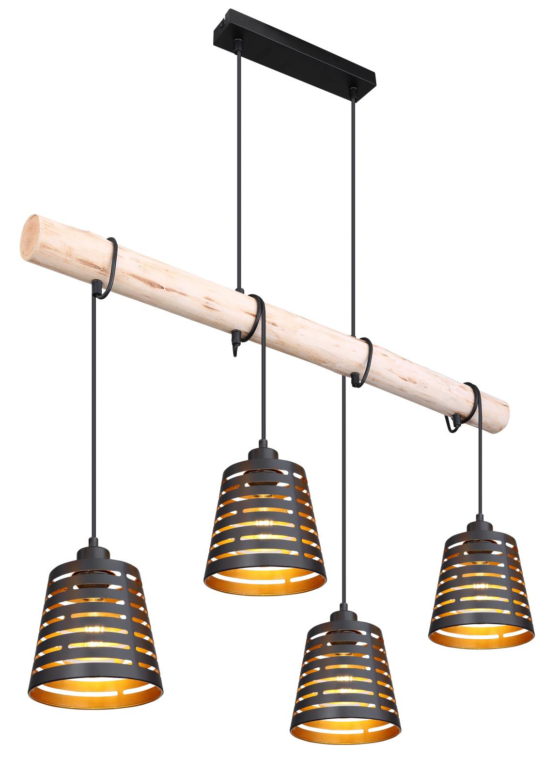 Függeszték fém fekete alaplap, fekete kábel, fém fekete-arany búrák, natúr fa betéttel kombinálva exkl. 4xE27 60W 230V