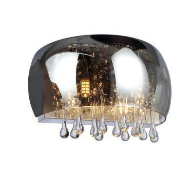 Falikar füstszínű üveg búrával, benne üveg-kristály függő díszekkel. BxH:280x139, AL:145, exkl. 2xG9 40W 230V