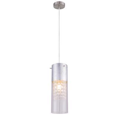Függeszték nikkel matt, ezüst színben, átlátszó üveg búrával. O:110, H:1200, exkl. 1xE27 60W 230V