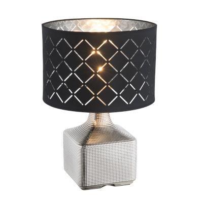 Asztali lámpa kerámia króm, textil szürke  króm, kapcsolóval, D:250, H:380, Foglalat típusa:1xE27 60W 230V