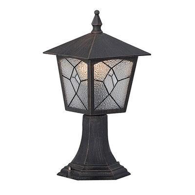 Kültéri világítás, álló, antikolt, Tiffany IP44, LxBxH:185x185x375, exkl. 1xE27 60W 230V