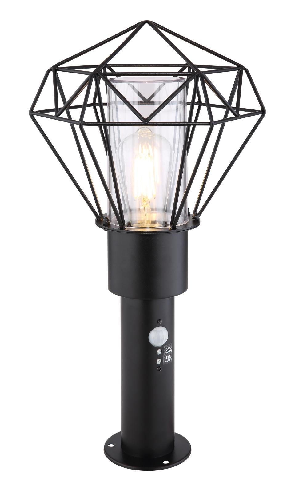 Kültéri állólámpa rozsdamentes acél fekete, műanyag átlátszó búrával, szenzorral szerelve exkl. 1xE27 LED 15W 230V. IP44