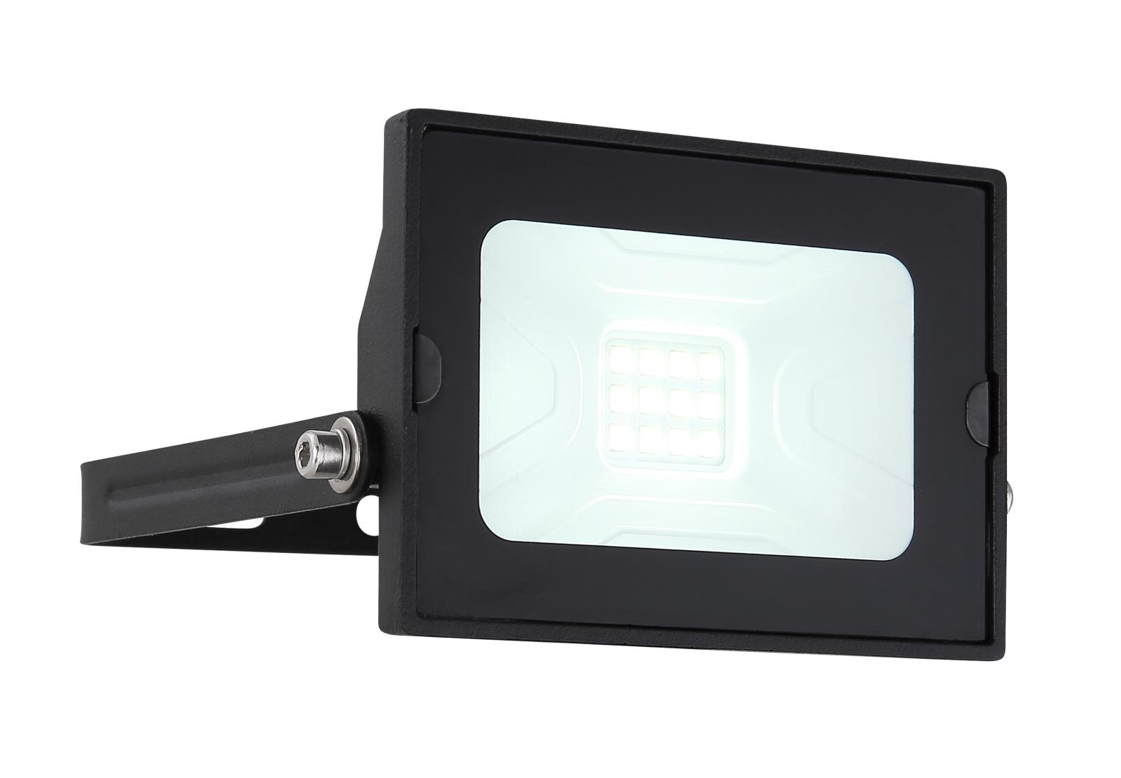 Kültéri reflektor fekete alumínium, üveg búrával. IP65 inkl. 1xLED 10W 230V, 750lm, 6000K