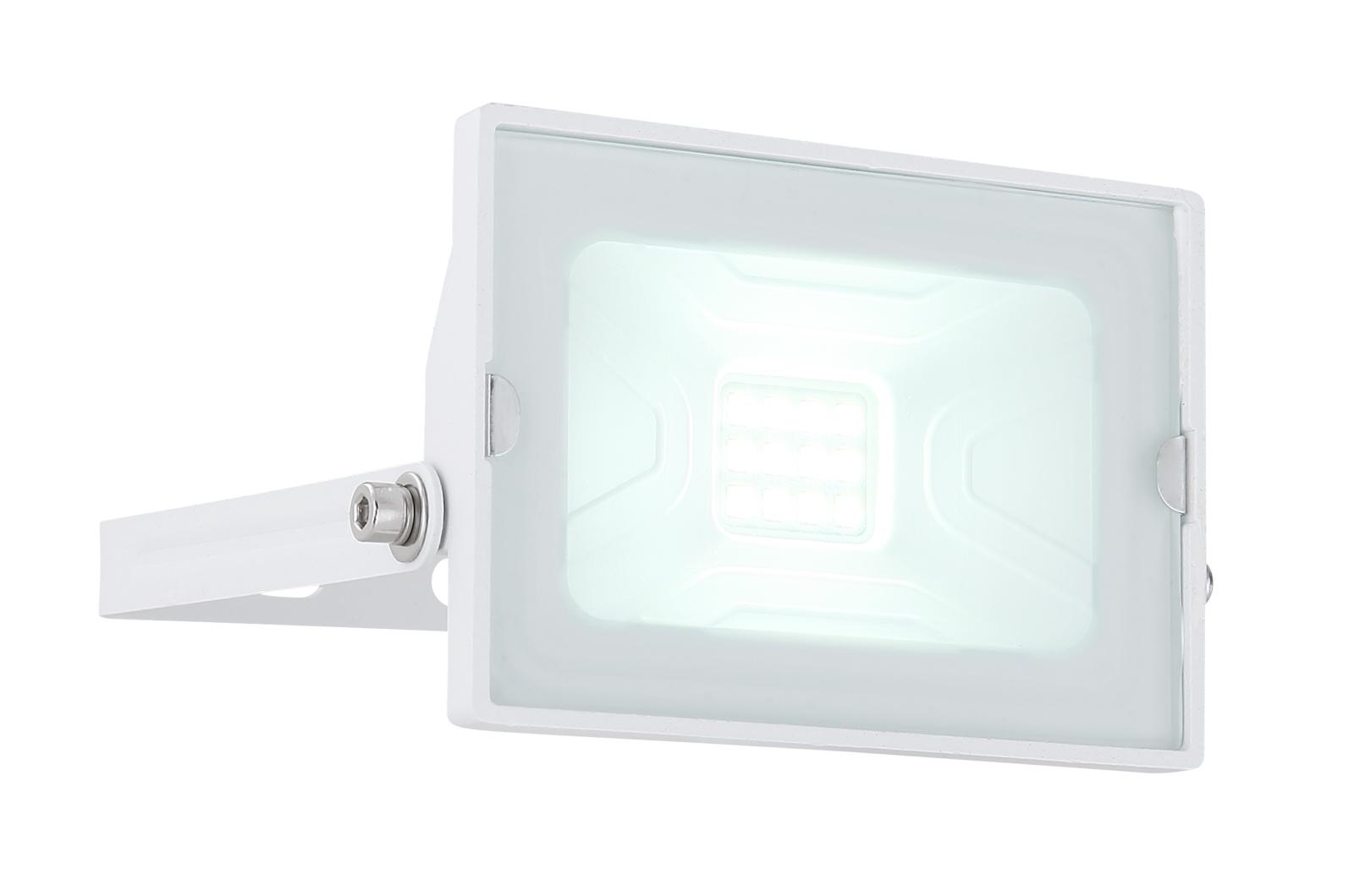 Kültéri reflektor fehér alumínium, üveg búrával. IP65 inkl. 1xLED 10W 230V, 750lm, 6000K