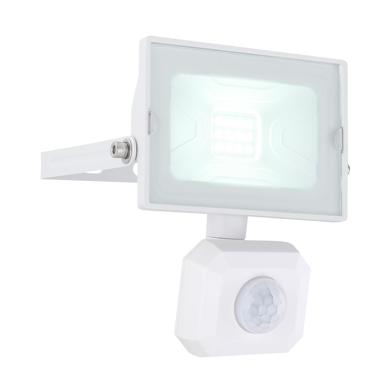 Kültéri reflektor fehér alumínium, üveg búrával, szenzorral szerelve. IP44 inkl. 1xLED 10W 230V, 750lm  6000K