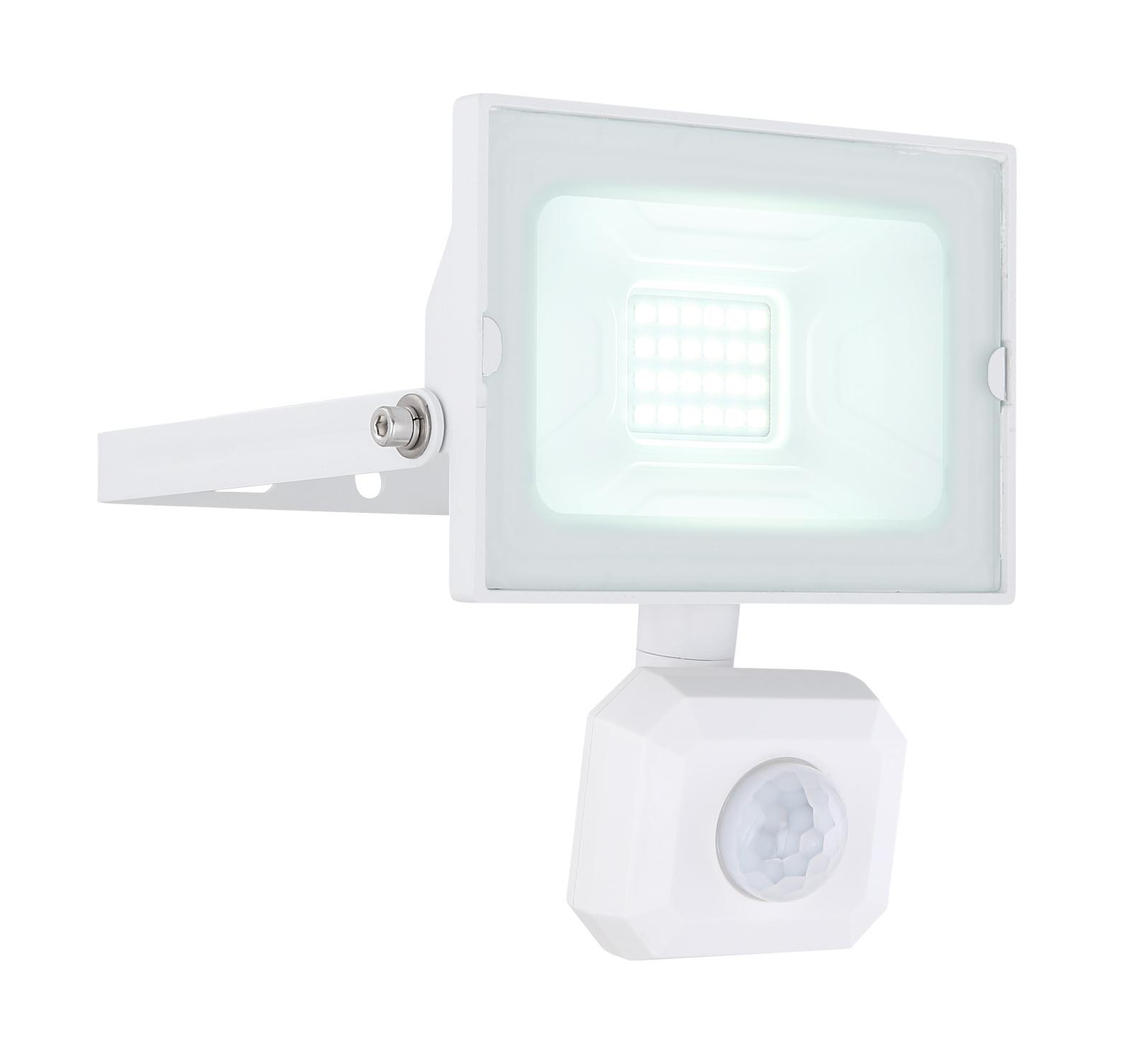 Kültéri reflektor fehér alumínium, üveg búrával, szenzorral szerelve. IP44 inkl. 1xLED 20W 230V, 1500lm, 6000K