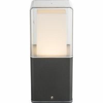 Kültéri alumínium fekete falikar, üveg opál o, IP44, LxBxH:85x85x200, inkl. 1xLED 12W 36V, 600lm, 3000K