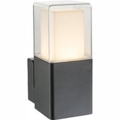 Kültéri alumínium fekete falikar, üveg opál , IP44, BxH:85x202, AL:142, inkl. 1xLED 12W 36V, 600lm, 3000K