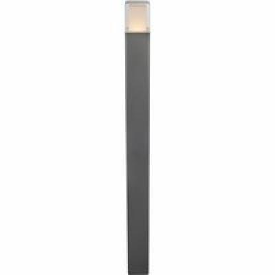 Kültéri alumínium fekete állólámpa, üveg opál , IP44, LxBxH:85x85x1100, inkl. 1xLED 12,2W 230V, 600lm, 3000K