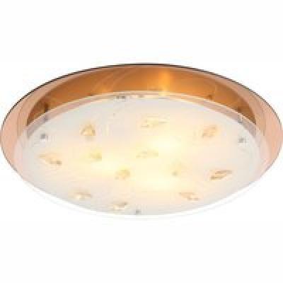 Mennyezeti lámpa  borostyán színű üveg,K5 kristály dekor ,D:460, H:85, exkl. 3xE27 ILLU 40W 230V