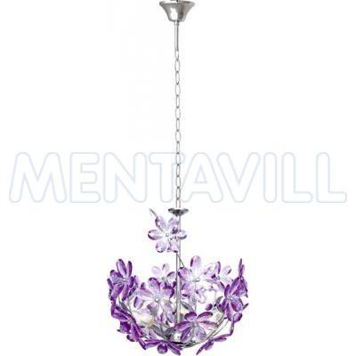 Függeszték króm,akril lila virág. D:380, H:1350, exkl. 3xE14 40W 230V