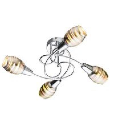 króm váz, füstszínű  üvegbúra 3D effekttel, D:510, H:215, exkl. 4xE14 40W 230V