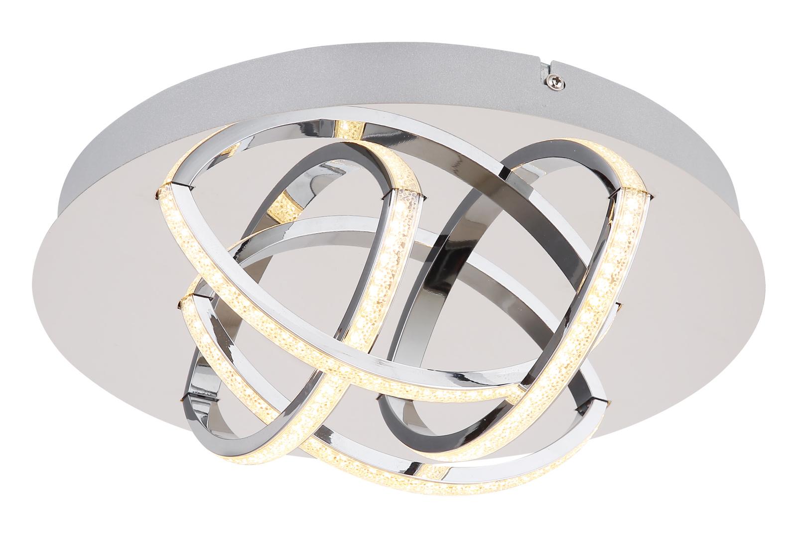 Mennyezeti lámpa króm váz, akril átlátszó búrával, benne akril kristály dekorral inkl. 1xLED 15W 230V, 900lm,  3000K IP44