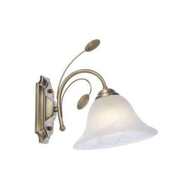 Fali bronz, üveg alabástom fehér, üveg DM: 190mm, BxH:190x255, AL:250, exkl. 1xE27 60W 230V