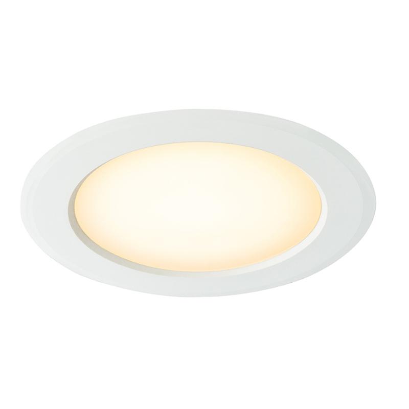 Süllyesztett lámpa, alumínium, műanyag fehér, műanyag opál szaténezett, D: 187, H: 42, beleértve 1xLED 15W 230V, 1300lm, 3000K