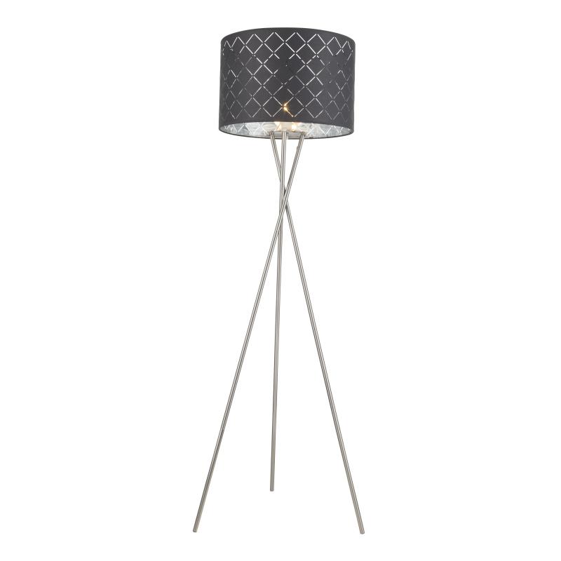 Állólámpa  textil ,fekete-ezüst,kábel 1,8 m, Schalter, D:620, H:1600, exkl. 1xE27 60W 230V
