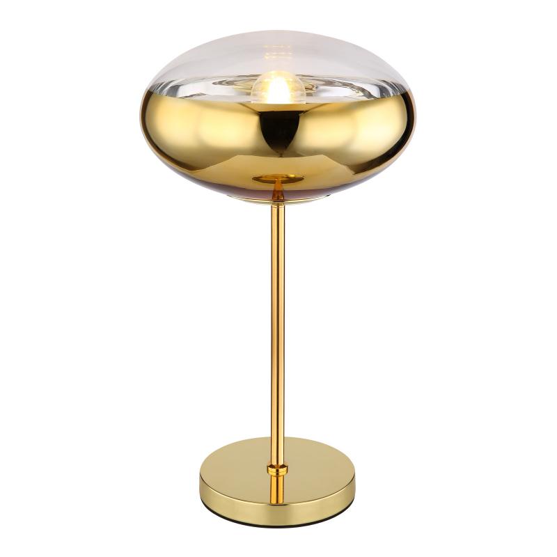 Asztali lámpa arany fém talppal és üveg arany dekoros búrával.   O:300, H:530, exkl. 1xE27 60W 230V