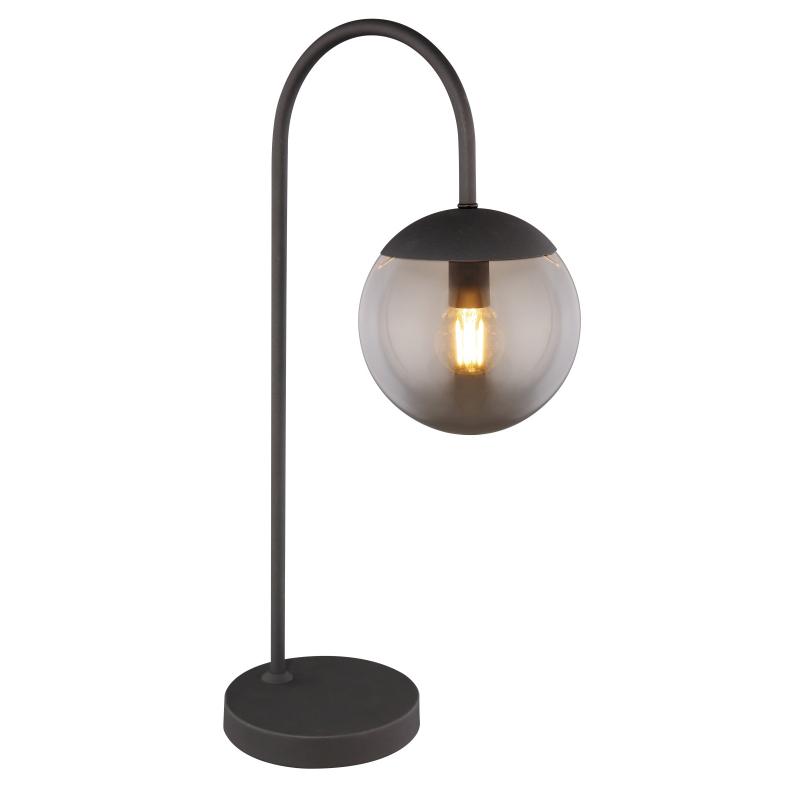 Asztali lámpa fekete fém váz, üveg füstszínű búrával. HxSZxM270x160x510, exkl. 1xE27 25W 230V