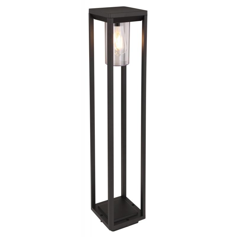Kültéri  lámpa alumínium fekete váz, akril búrával. IP44, HxSZxM150x150x800, exkl. 1xE27 LED 15W 230V