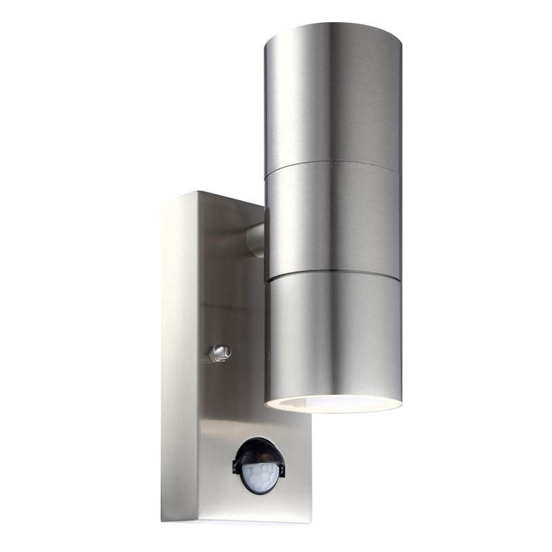 Kültéri inox, üveg  IP44, Sensor:100°; távolság: 6m, BxH:70x215, AL:110, inkl. 2xGU10 5W 230V, 2x210lm, 3000K