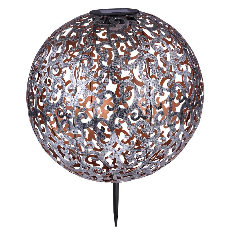 SOLAR leszúrható fém gömb,IP44,LED