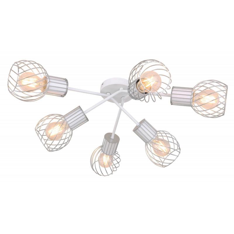 Mennyezeti lámpa fehér-króm színben, fém rácsos búrával. O:700, H:240, exkl. 6xE27 40W 230V