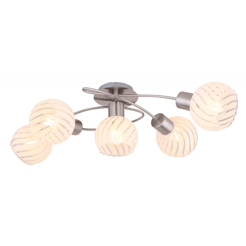 Mennyezeti lámpa, matt króm fém és fehér szatén üveg búrával. LxBxH:690x430x240, exkl. 5xE27 40W 230V