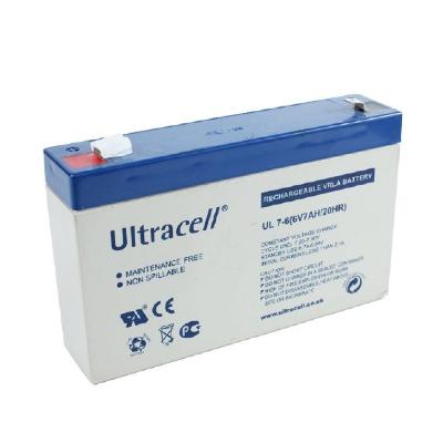 Ultracell 6V 7,0Ah gondozásmentes akkumulátor biztonságtechnikai rendszerekhez