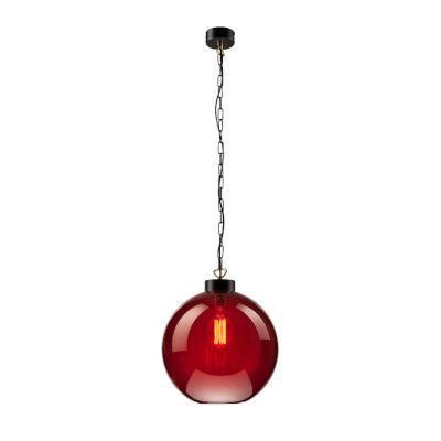 Függ.gömb 1×60W E27 fek/vörös