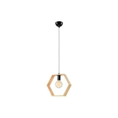 Függ.1×60W E27 natúr fa hatszögletű